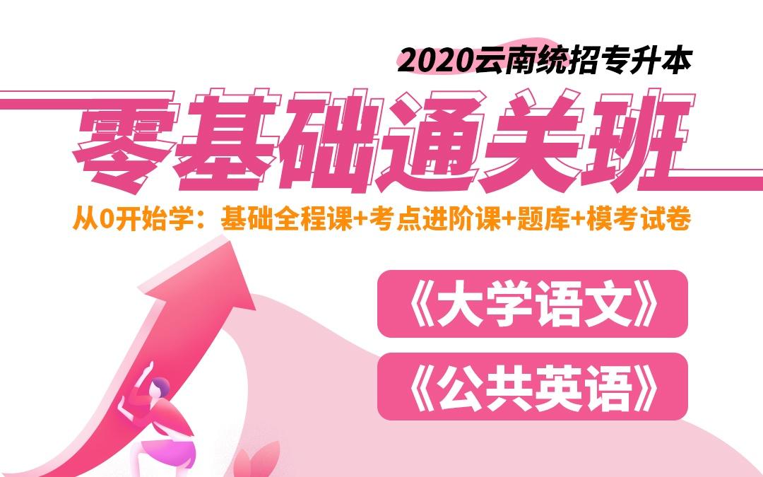 2020云南统招专升本零基础通关班—大学语文、公共英语