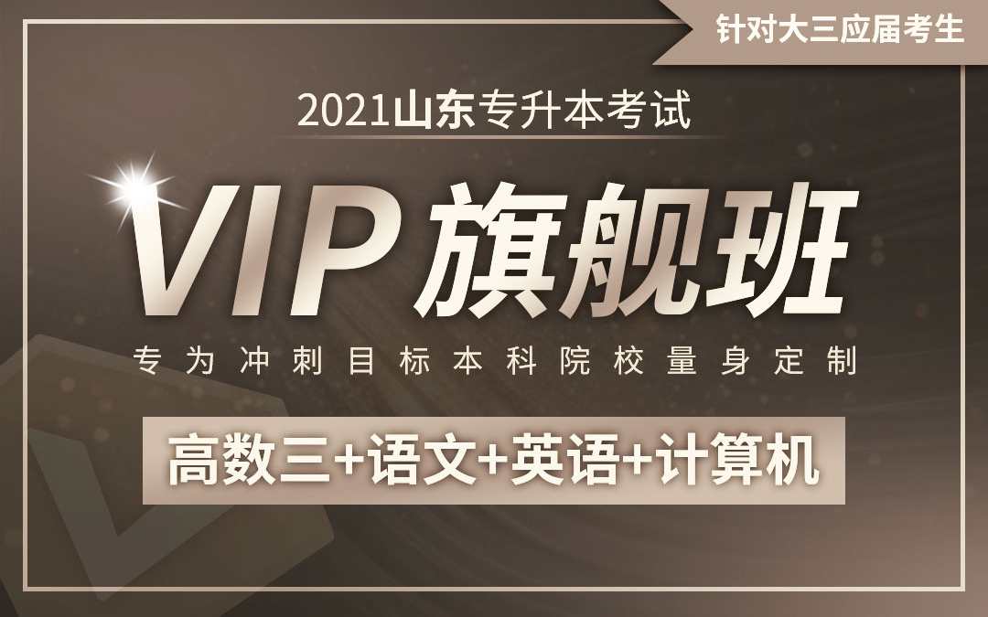 【应届班】2021山东专升本VIP旗舰班(高数三、语文、英语、计算机)