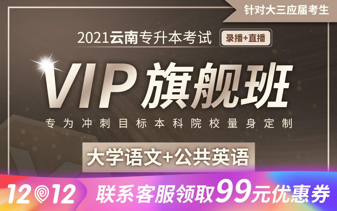 【应届班】2021云南专升本VIP旗舰班(大学语文、公共英语)【直播+录播】