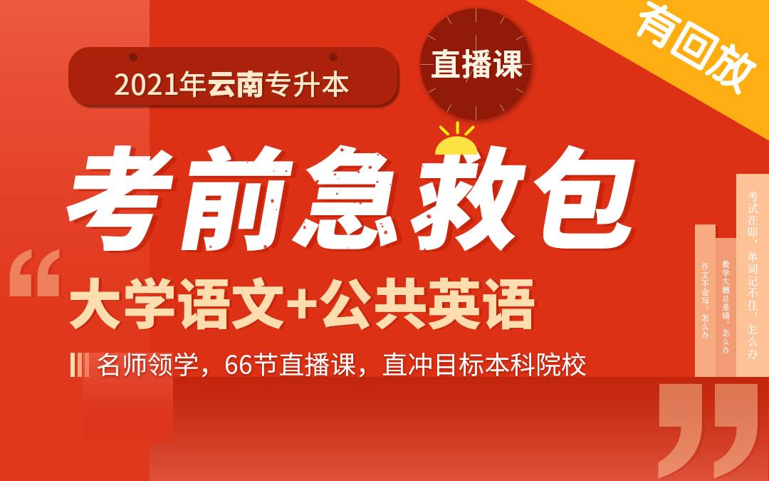 2021云南专升本考前急救包—(语文+英语)直播课(支持回放)